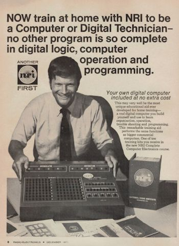 Radio Electronics December 1971 National Radio Institute ( NRI ) Digital Computer Model 832 advertisement