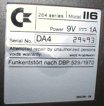 Commodore C-116 Computer SN label