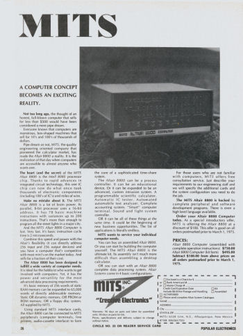 The first MITS Altair 8800 advertisement
