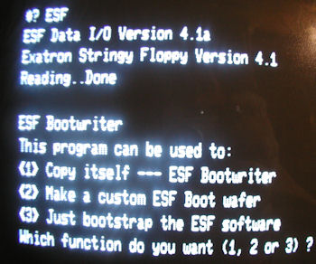 TRS 80 Model III Exatron Stringy Floppy Boot Screen