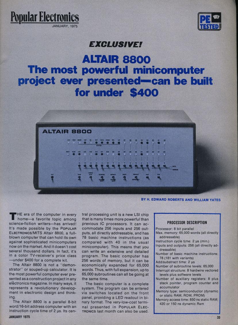 VintageComputer net - Popular Electronics January 1975 and